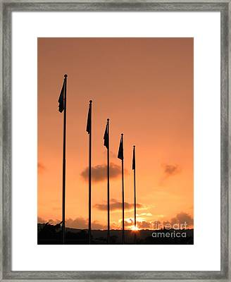 Flagpoles And Sunset Framed Print by Yali Shi