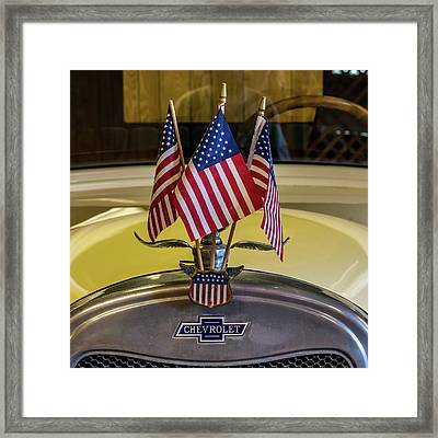 Flags And Chevy Framed Print by Paul Freidlund