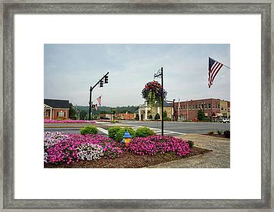 Flags And Flowers In Murphy North Carolina Framed Print by Greg Mimbs