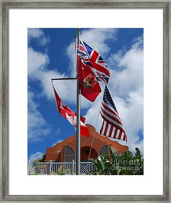 A Collection Of Flags At Grotto Bay, Bermuda Framed Print by Poet's Eye
