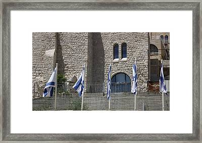 Framed Print featuring the photograph Flags At The Kotel by Julie Alison