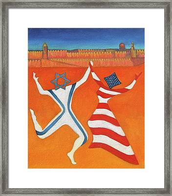 Flags Dancing With Israeli Man And American Woman       Framed Print by Jane  Simonson