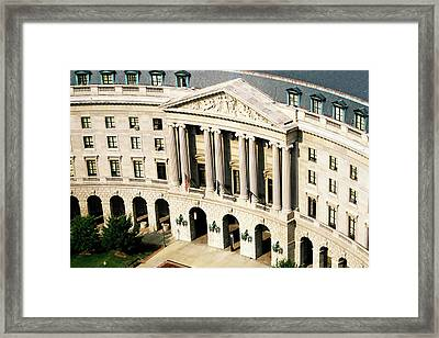 Flags Flying Outside Capitol Building In Washington Dc Framed Print by Sami Sarkis