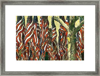Flags For The Fourth Framed Print by Elaine Frink