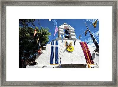 Flags In Mykonos Town Framed Print