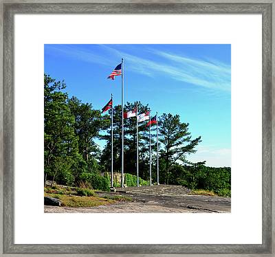 Flags Of Stone Mountain  Framed Print by David Lee Thompson