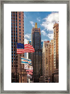 Flags Over Chicago Framed Print by Andrew Soundarajan