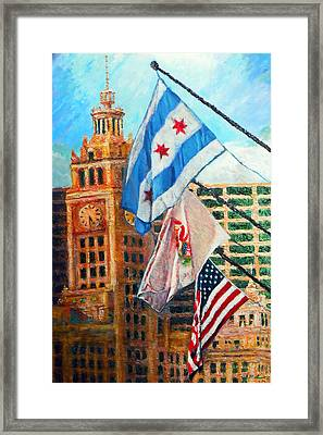 Flags Over Wrigley Framed Print by Michael Durst