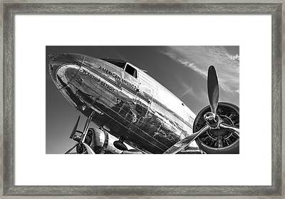 Flagship Detroit Black And White Framed Print