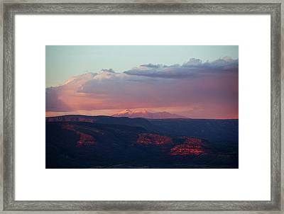 Framed Print featuring the photograph Flagstaff's San Francisco Peaks Snowy Sunset by Ron Chilston