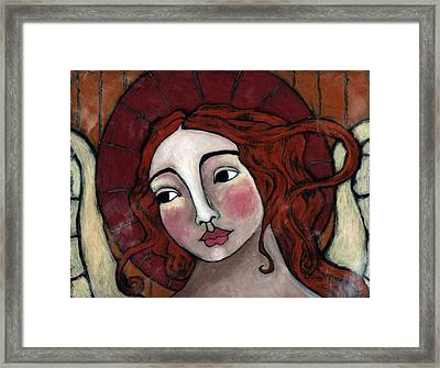 Flame-haired Angel Framed Print by Julie-ann Bowden