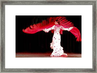 Flameco Dancer With Swirling Red Scarf Framed Print by David Smith