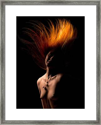 Flamed Hair Framed Print by Naman Imagery