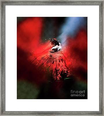 Flamenco Dancer In Red Framed Print