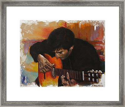 Flamenco Guitar Player Framed Print by Harvie Brown