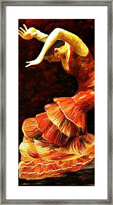 Framed Print featuring the painting Flamenco Poise 2 by James Shepherd