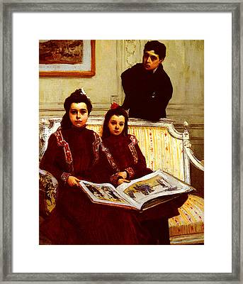 Flameng Francois Family Portrait Of A Boy And His Two Sisters Framed Print