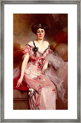 Flameng Francois Portrait De Mme D Framed Print
