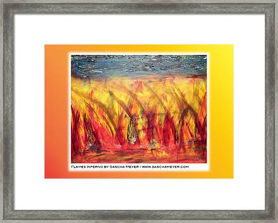 Flames Inferno On A Nice Background - Postcard Framed Print by Sascha Meyer