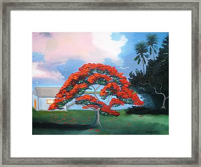 Flames On The River Framed Print by Francis Roberts ll