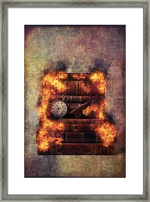 Flaming Books Framed Print by Garry Gay