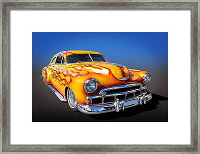 Flaming Chevy Framed Print