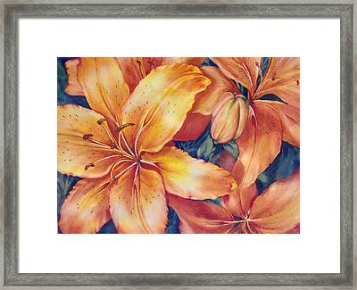 Flaming-days Framed Print by Nancy Newman