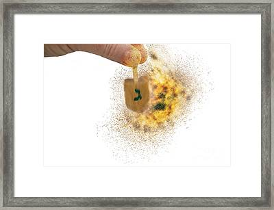 flaming Dreidel Framed Print by Humorous Quotes