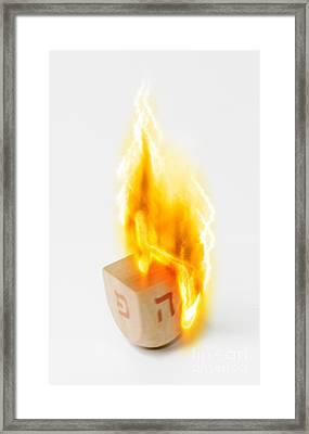 flaming Dreidel Framed Print