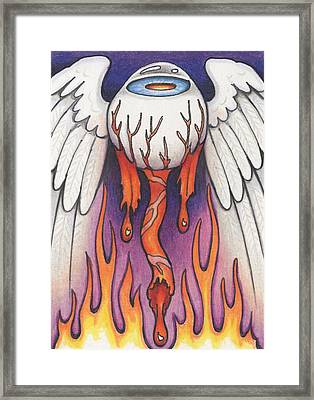 Flaming Flying Eyeball Framed Print