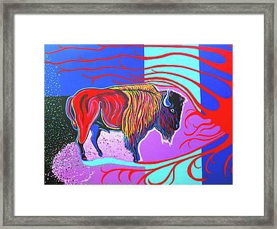 Flaming Heart Buffalo Framed Print