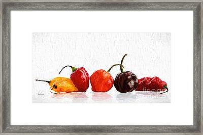 Flaming Hot Peppers Framed Print