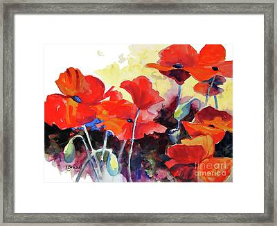 Flaming Poppies Framed Print by Kathy Braud