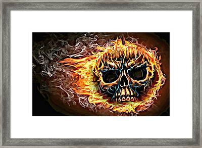 flaming skull Punk Gothic Biker Art Framed Print