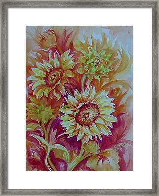Flaming Sunflowers Framed Print by Summer Celeste