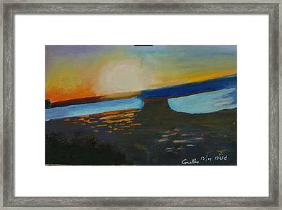 Flaming Sunset   Framed Print by Harris Gulko