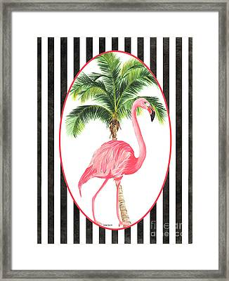 Framed Print featuring the painting Flamingo Amore 7 by Debbie DeWitt