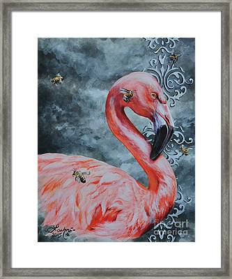 Flamingo And Bees Framed Print