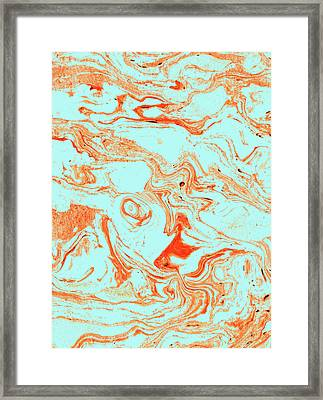 Flamingo And Sea Marble Framed Print