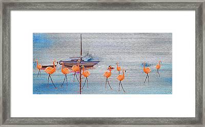 Flamingo Bay On Wood Framed Print by Ken Figurski