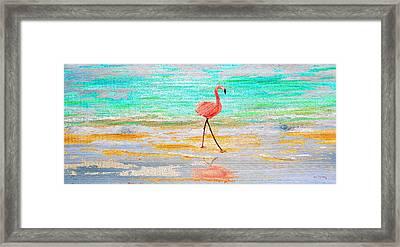 Flamingo Beach  On Wood Framed Print by Ken Figurski