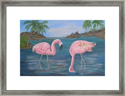 Flamingo Cove Framed Print by Mikki Alhart