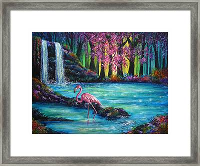 Flamingo Falls Framed Print by Ann Marie Bone