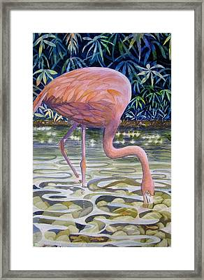 Framed Print featuring the painting Flamingo Fishing by Martha Ayotte