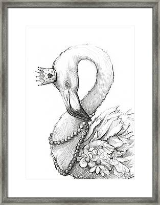 Flamingo In Pearl Necklace Framed Print