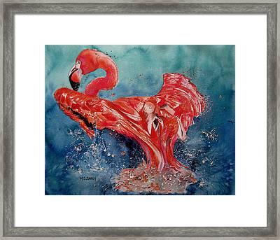 Flamingo Inflight Framed Print