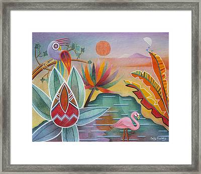 Flamingo Oasis Framed Print by Sally Appleby