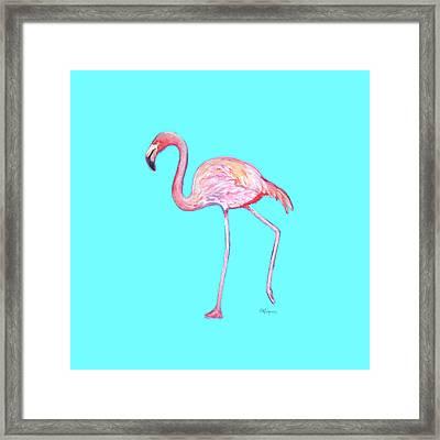 Flamingo On Blue Framed Print