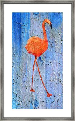 Flamingo On Wood Framed Print by Ken Figurski