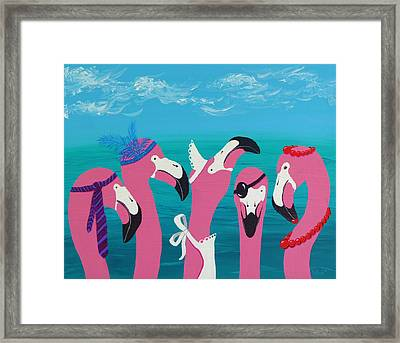 Framed Print featuring the painting Flamingo Party by Katherine Young-Beck